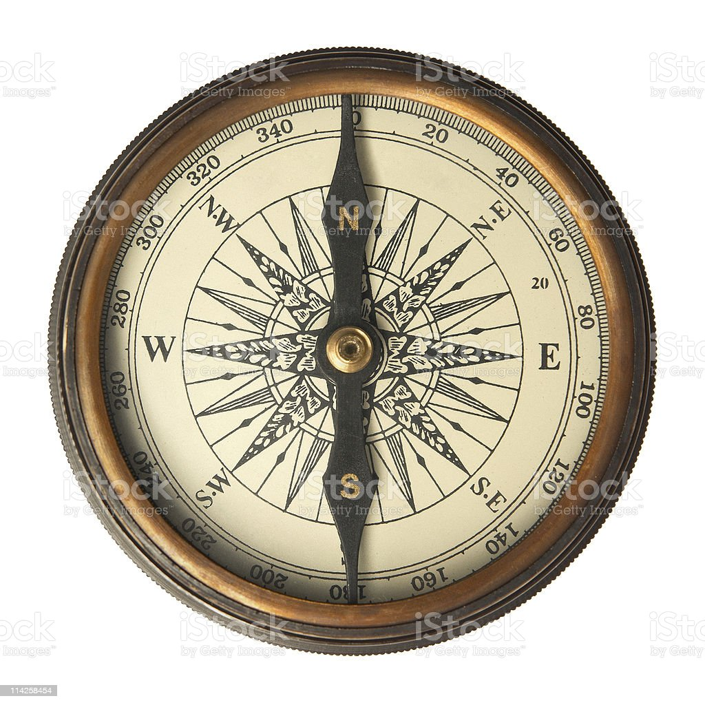 Brass and copper antique compass  stock photo