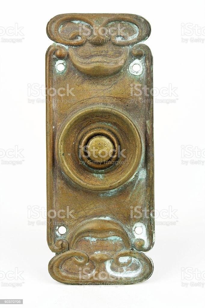 Brass Art Deco Electric Bell Push stock photo