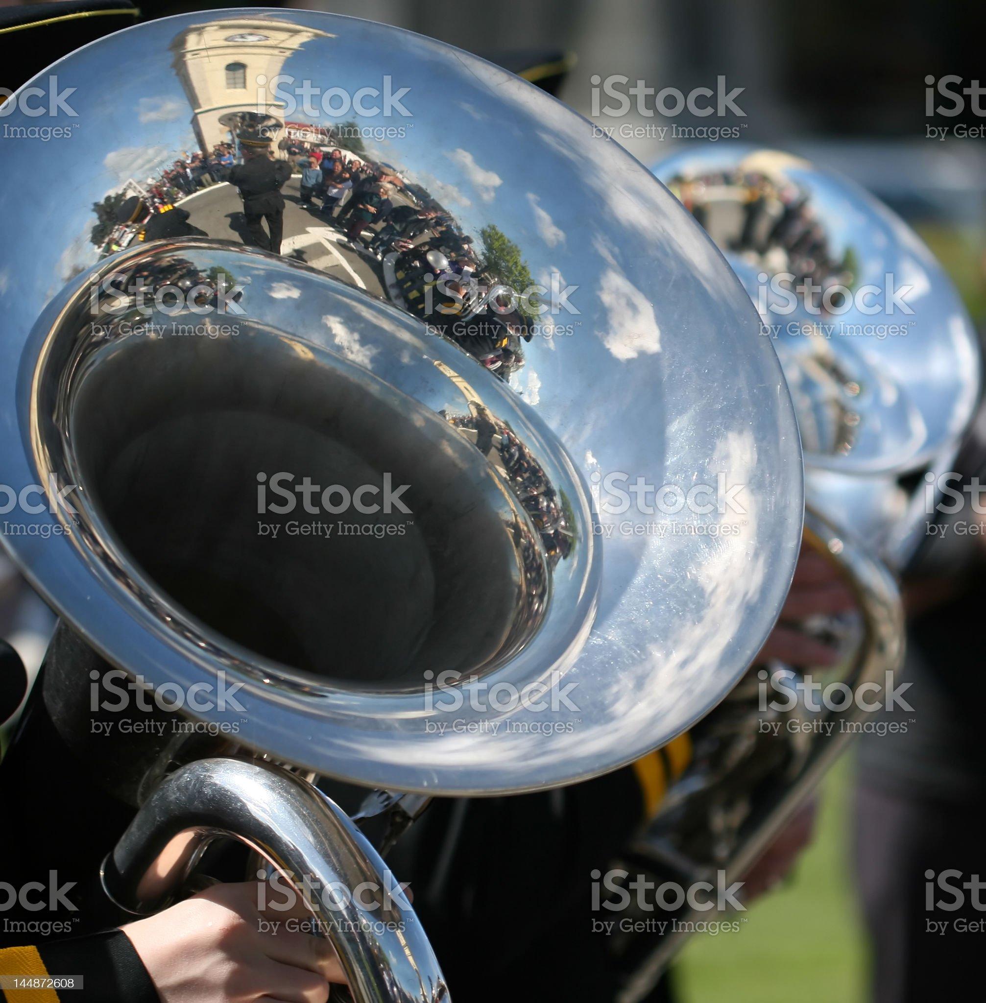 Brass band reflection royalty-free stock photo
