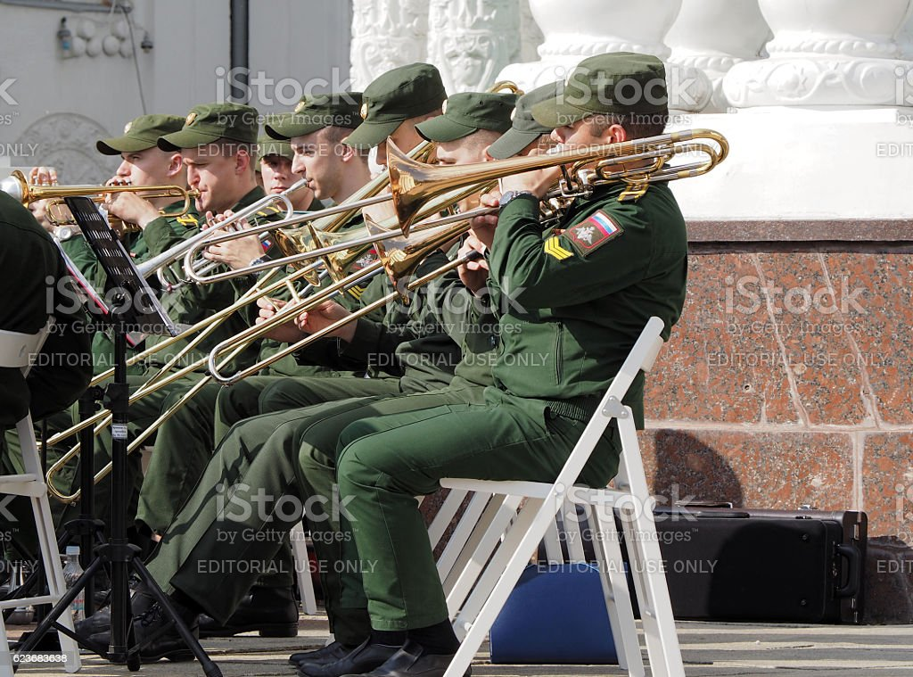 Brass band trombonists and trumpet players stock photo