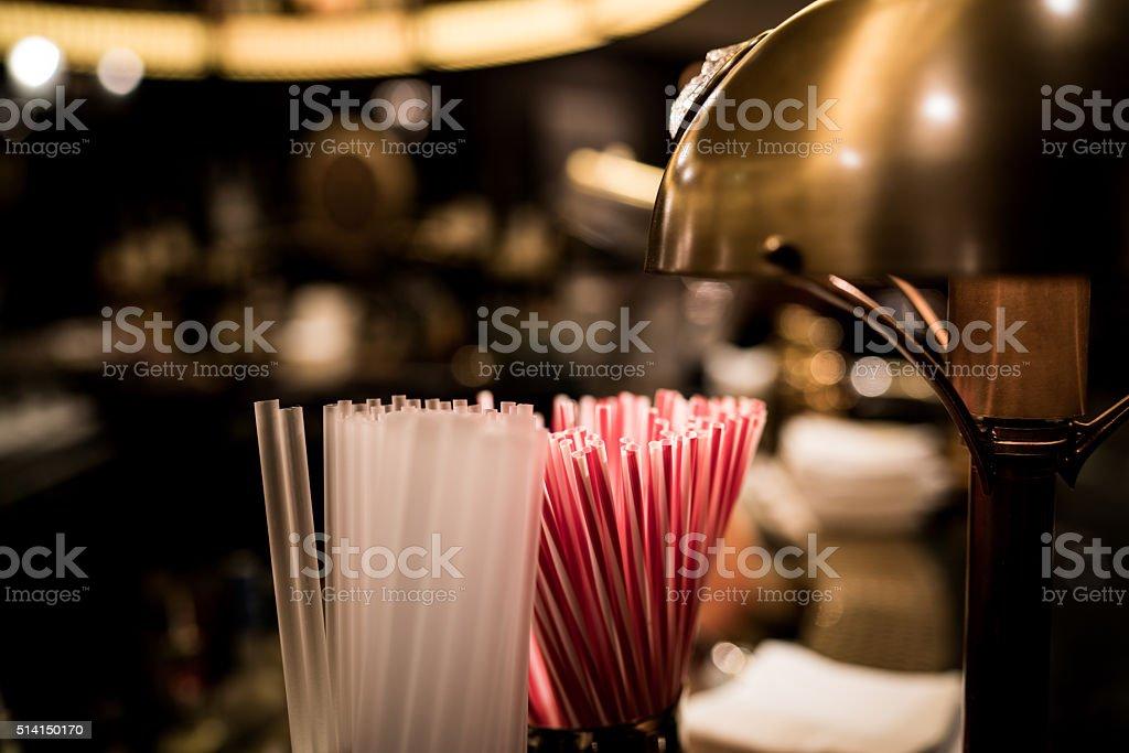 Brass bar straws stock photo