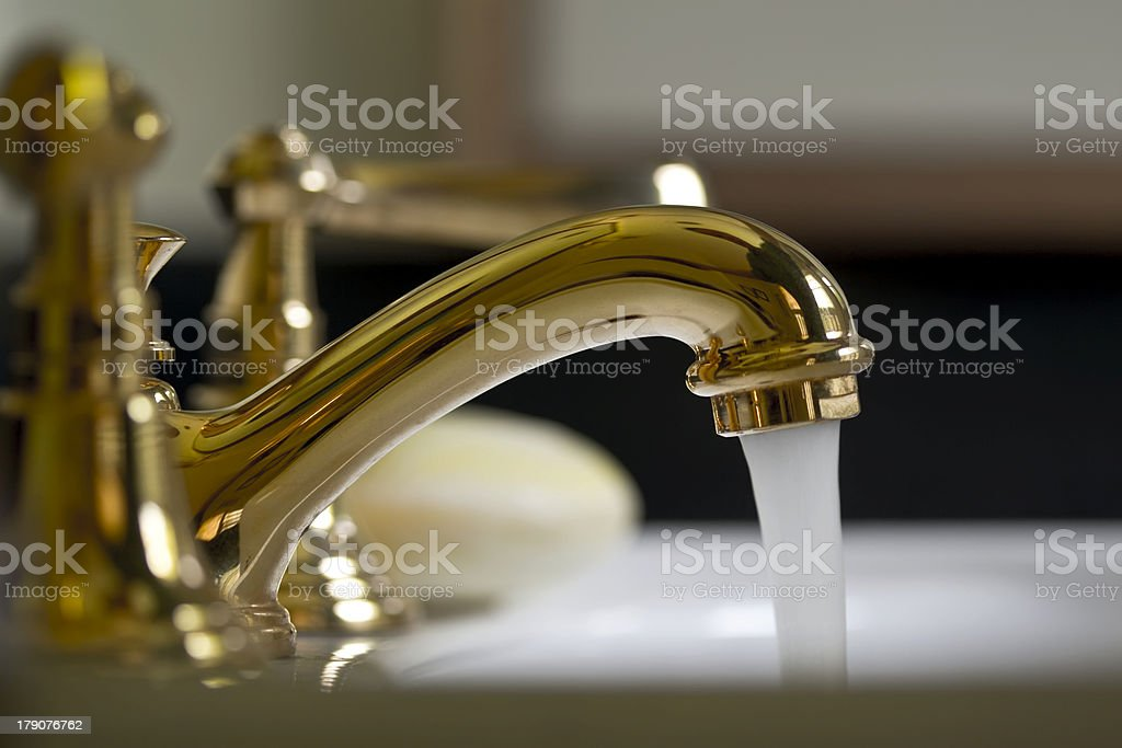 Brass Bathroom Faucet stock photo