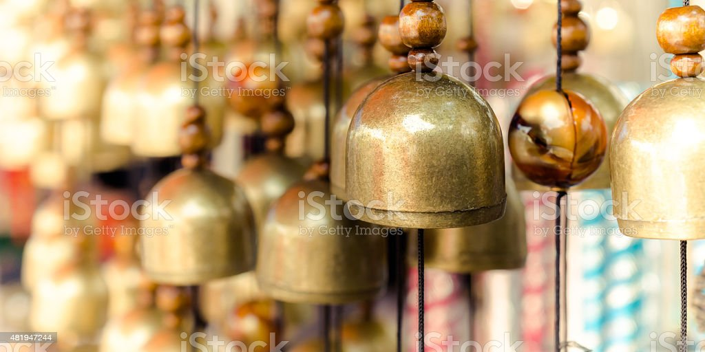 Brass Bells in the temple stock photo