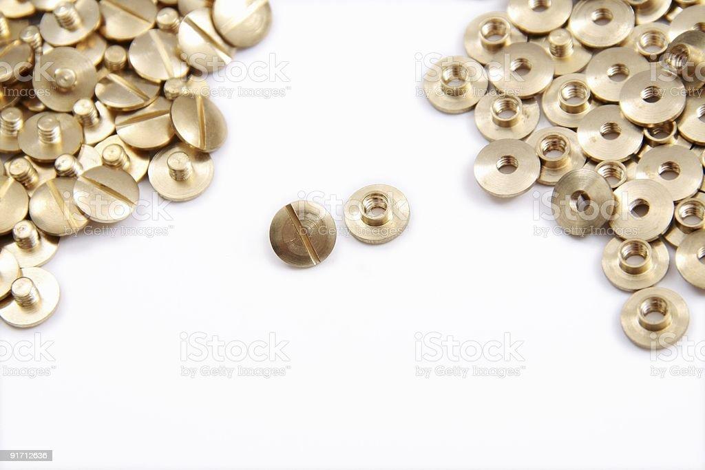brass binding screws stock photo