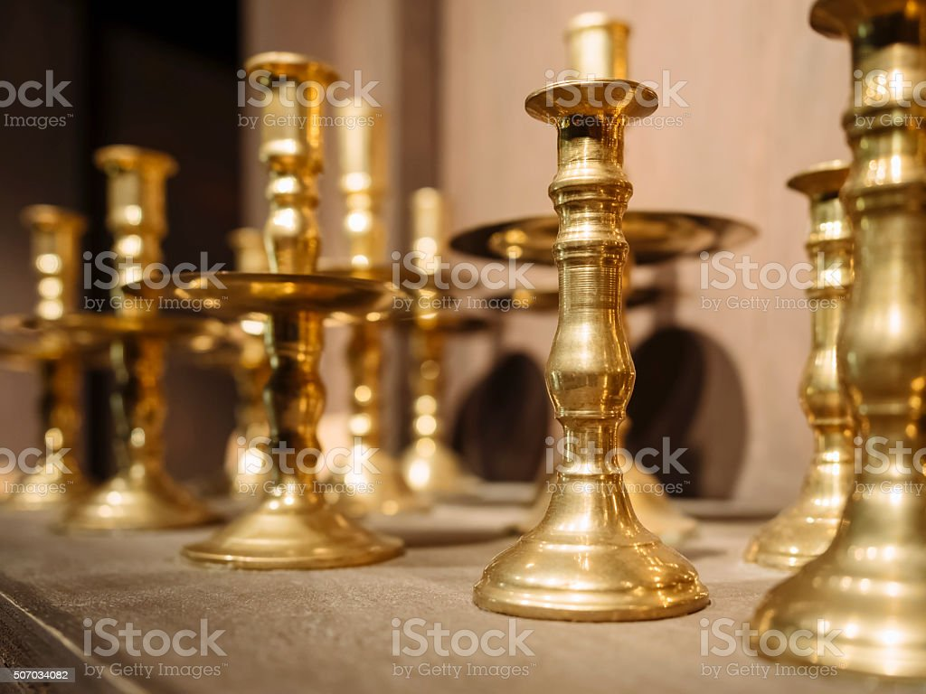 Brass Candle holders Vintage decoration object stock photo