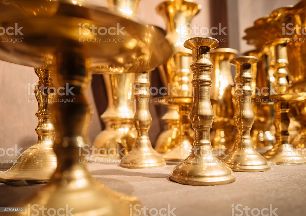 Brass Candle holders vintage object display stock photo
