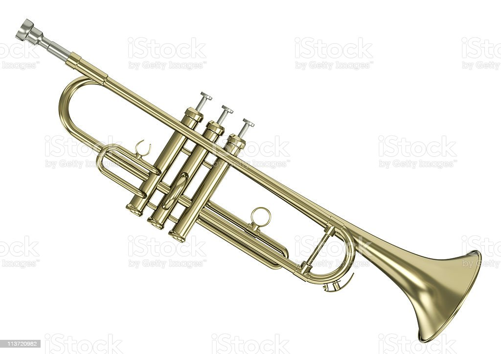 A brass colored trumpet on a white background royalty-free stock photo