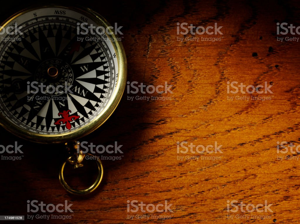 Brass Compass on a Oak Table royalty-free stock photo