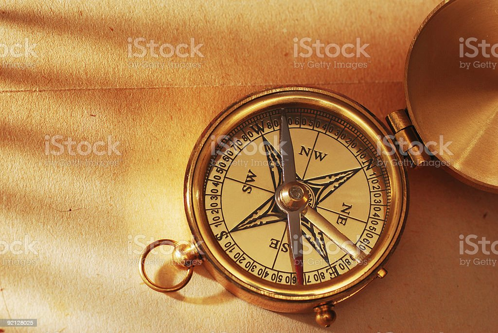 Brass compass stock photo