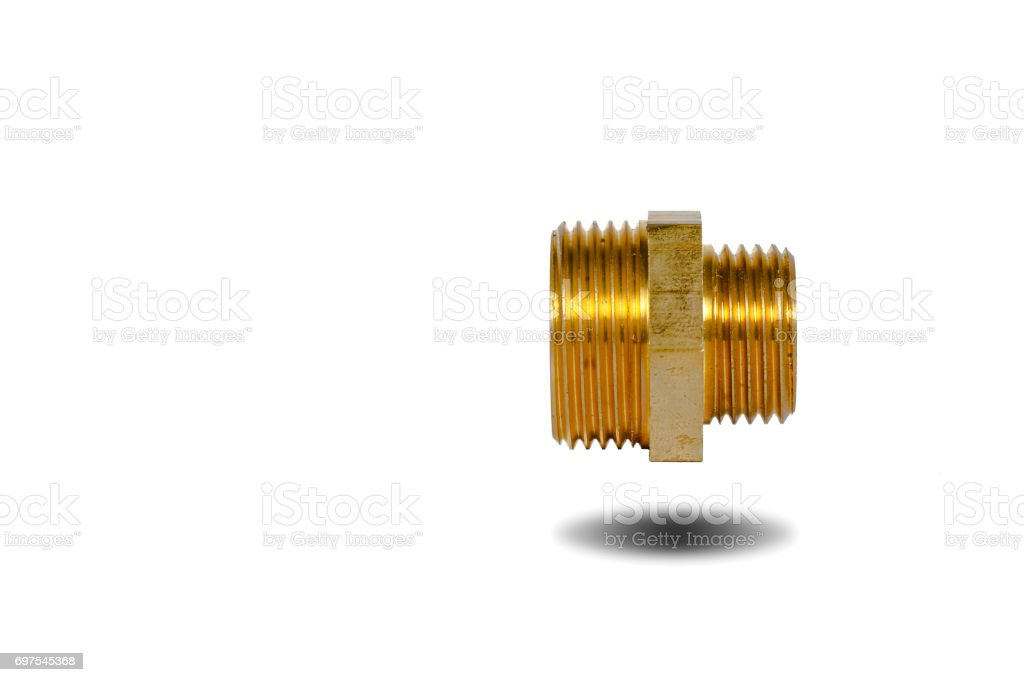 Brass connector on the white background. stock photo