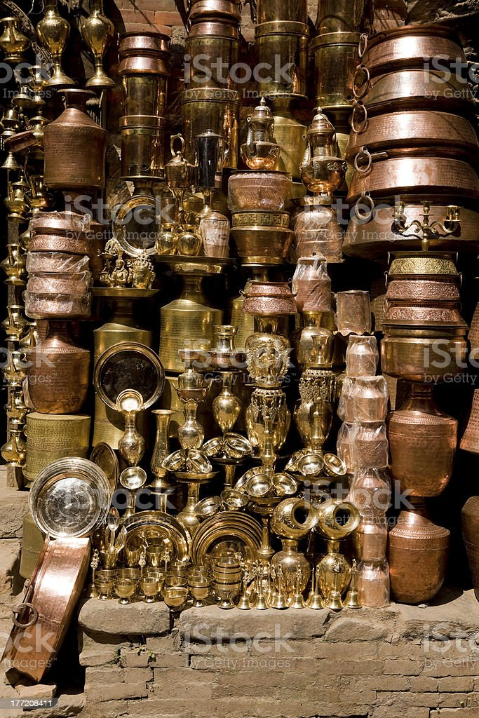 Brass Copper Craft Product Kathmandu Nepal royalty-free stock photo