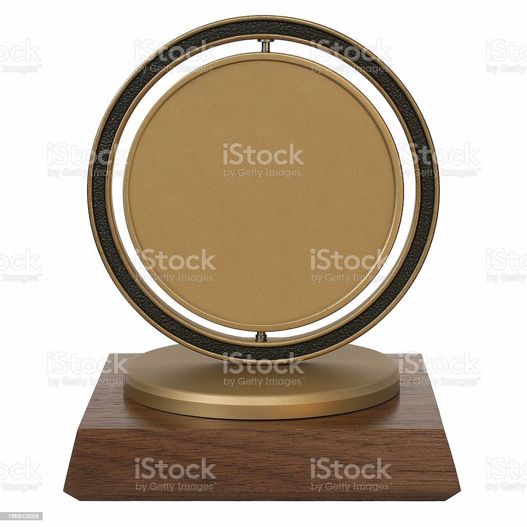 Brass corporate trophy stock photo