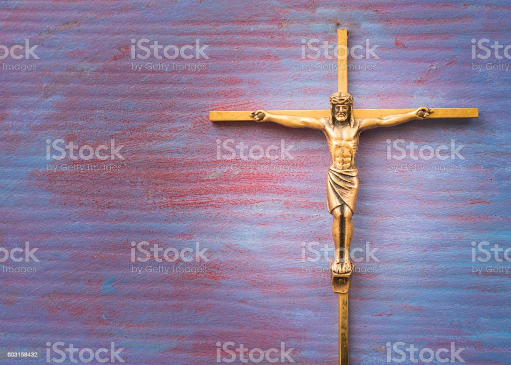 Brass Cross with crucified Jesus Christ stock photo