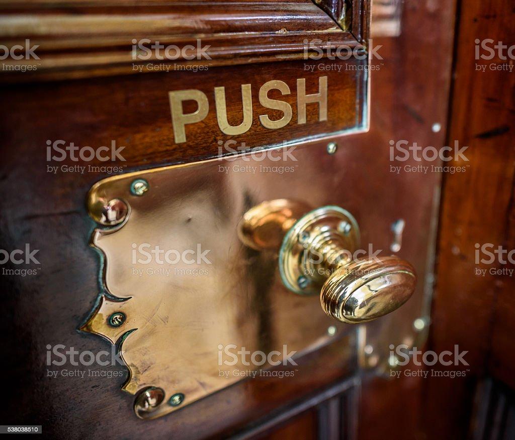Brass Door Handle stock photo