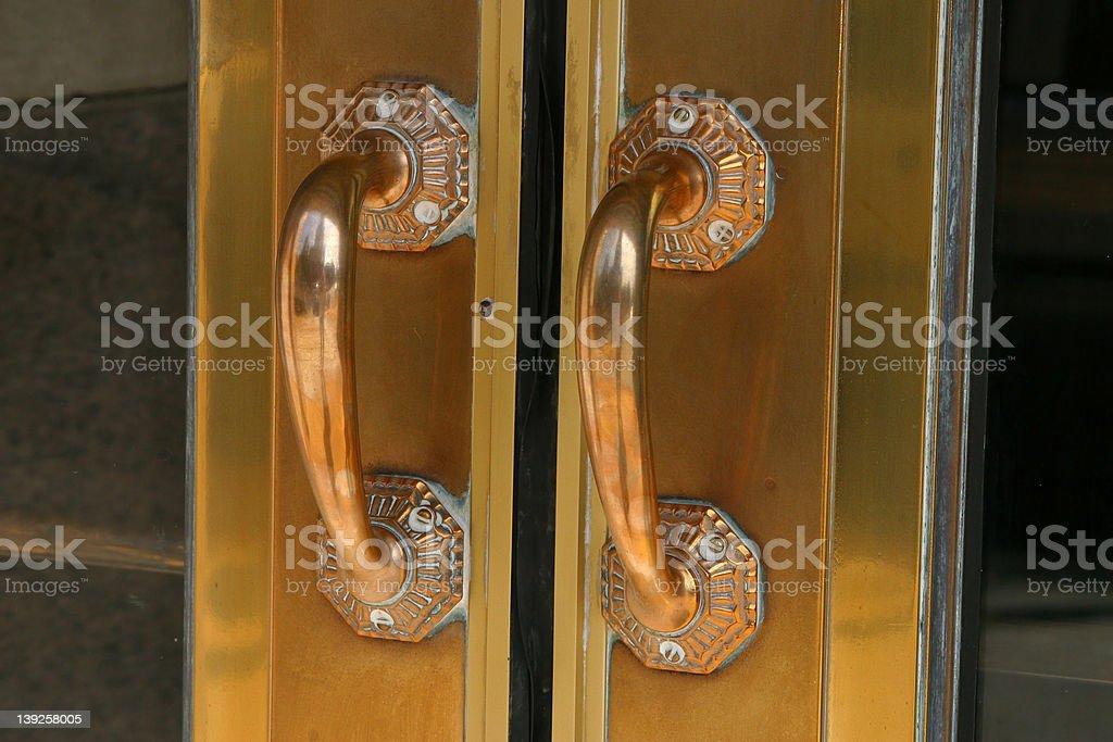 Brass Door Handles royalty-free stock photo
