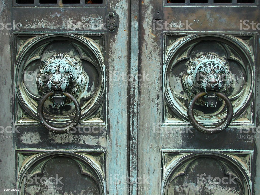 Brass Door with Lionhead knockers stock photo