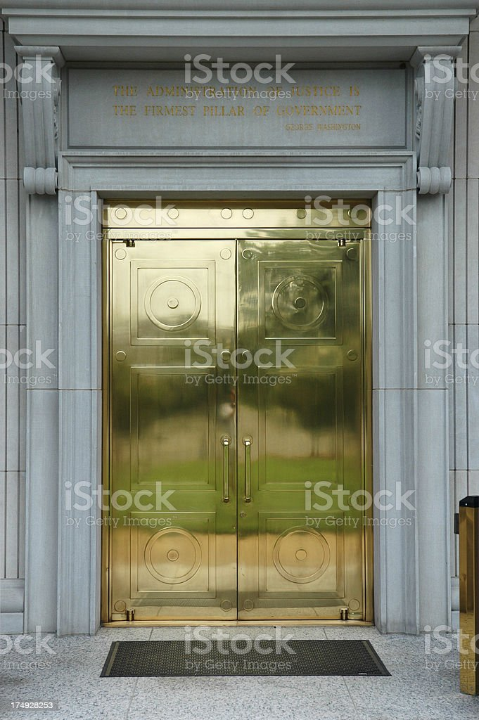 Brass Doors on Government Building stock photo