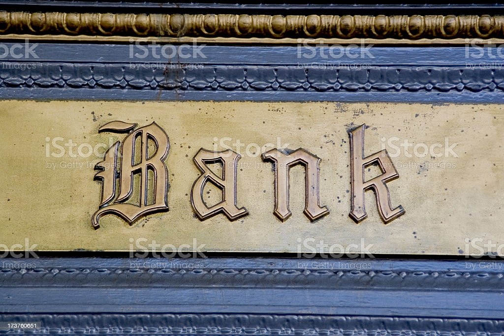 Brass Embossed Bank Lettering stock photo