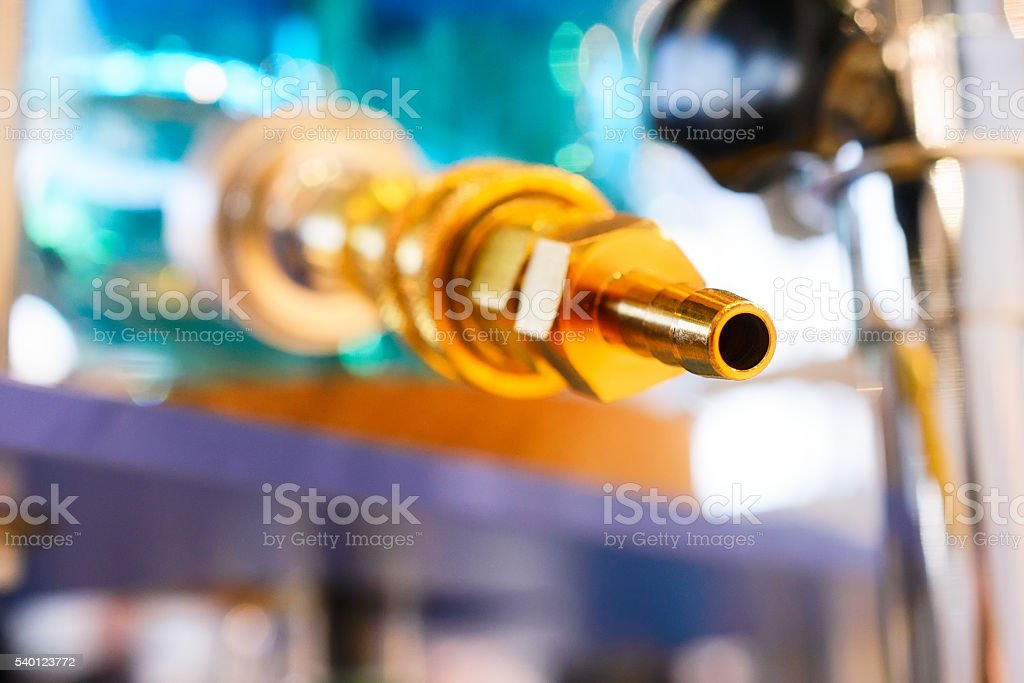 Brass Fitting, photographed close-up. stock photo