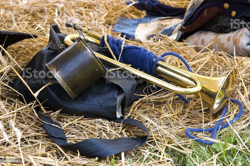 Brass Horn of a Civil War Soldier stock photo