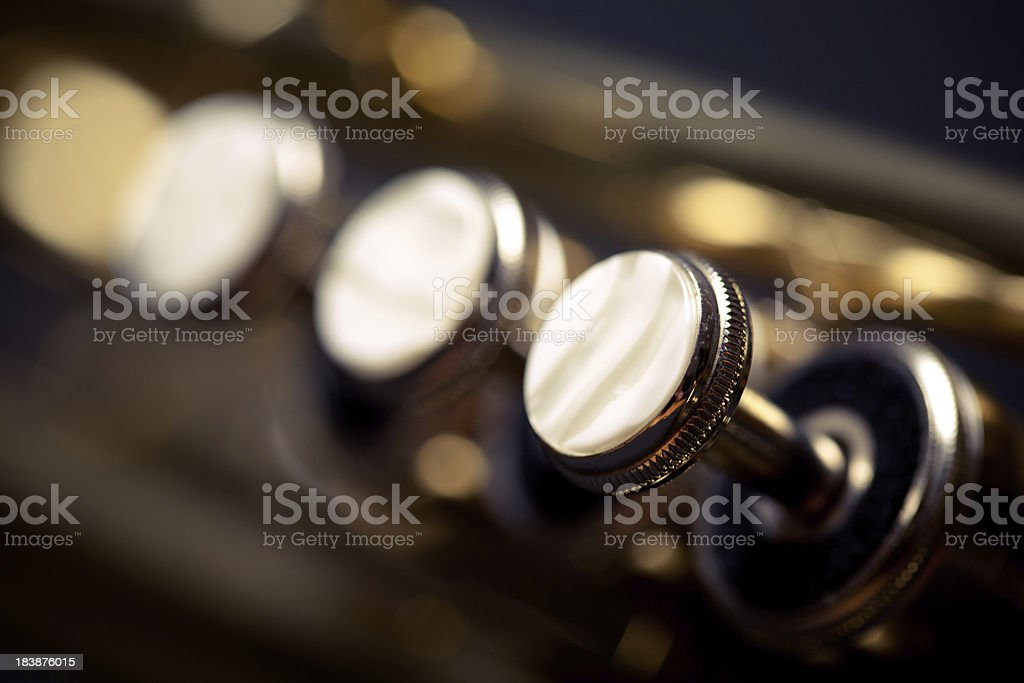 Brass instrument valves stock photo