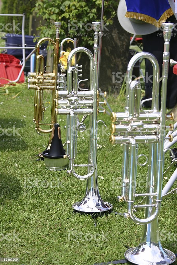Brass instruments of a band in park royalty-free stock photo