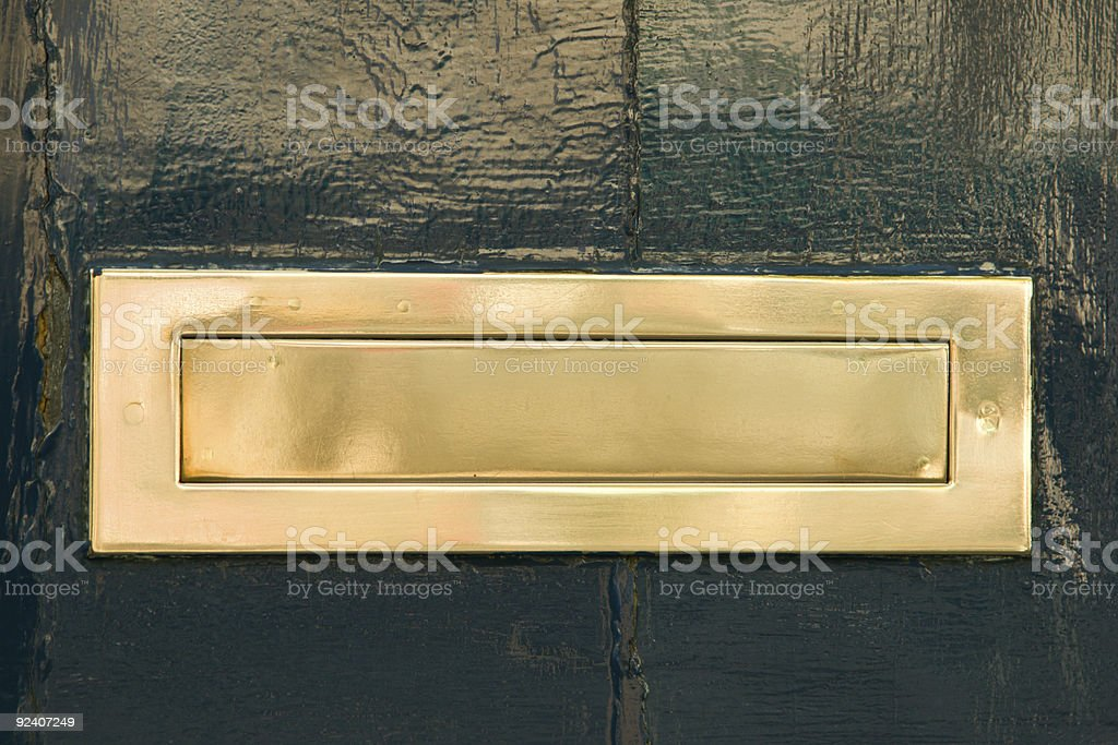 Brass Letter Drop stock photo