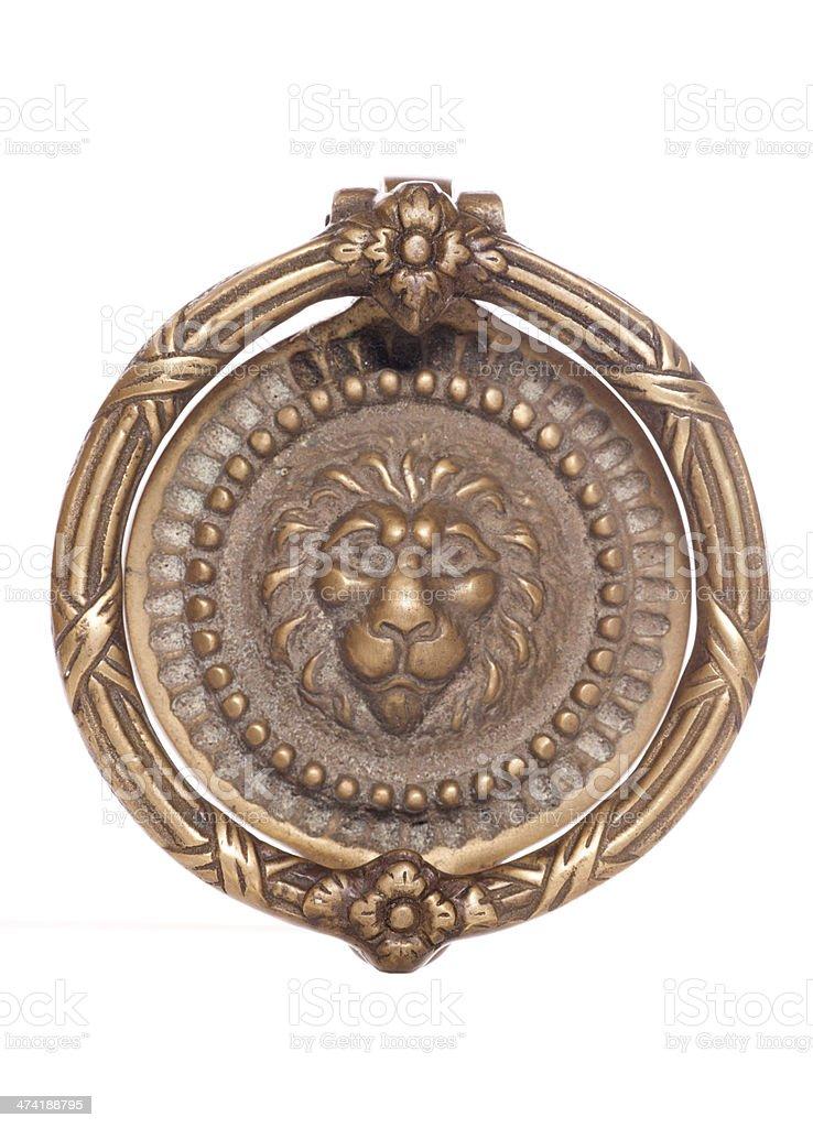 Brass lion door knocker stock photo
