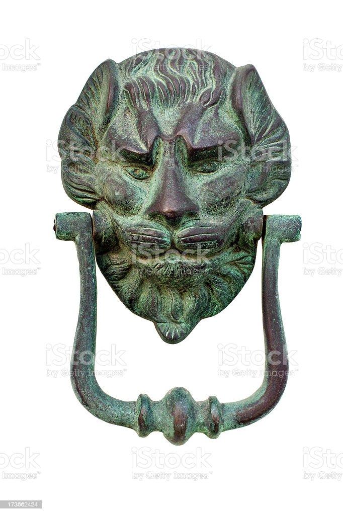 Brass Lion Head Door Knocker royalty-free stock photo
