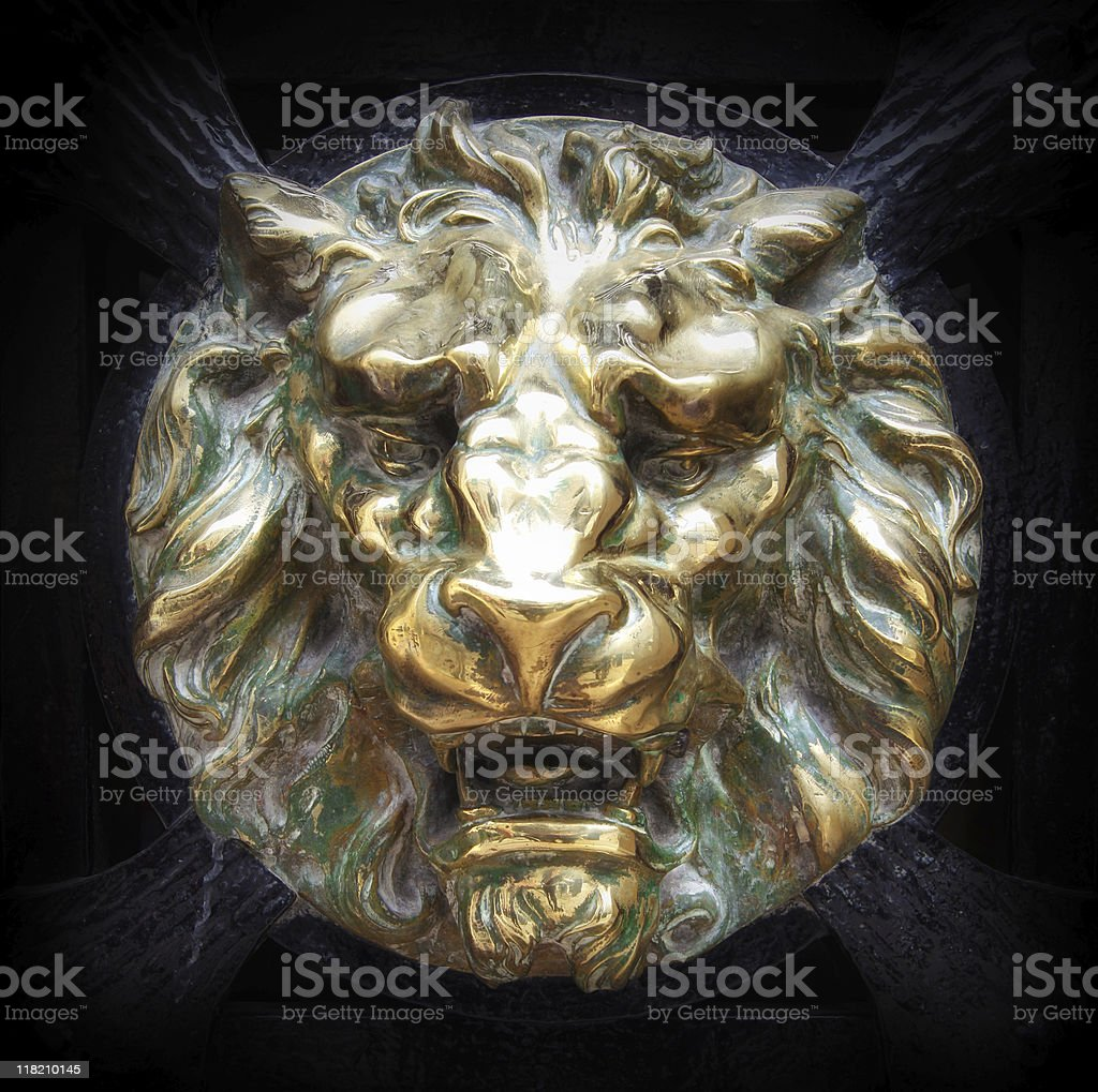 Brass Lion head Relief stock photo