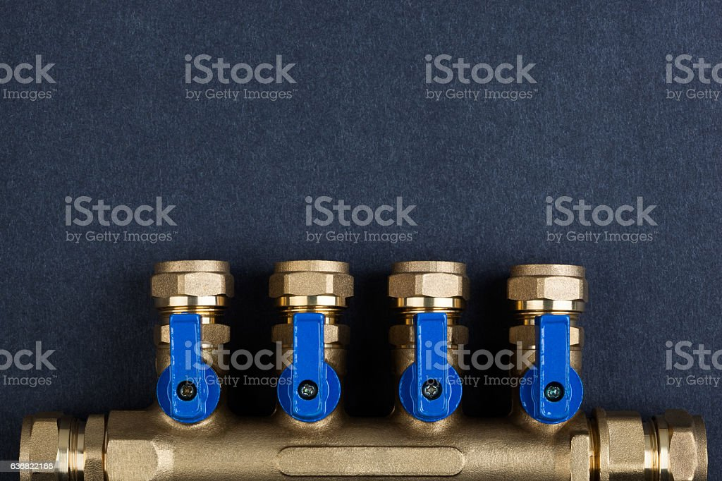 Brass manifold, PEX Fittings with ball valves. stock photo