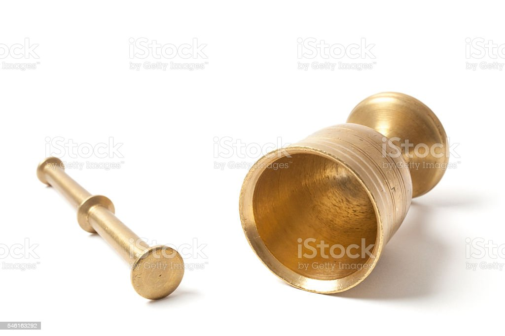 Brass Metal Mortar on White stock photo