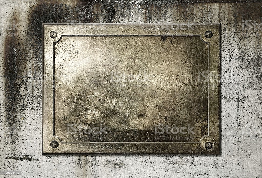 Brass metal sign stock photo