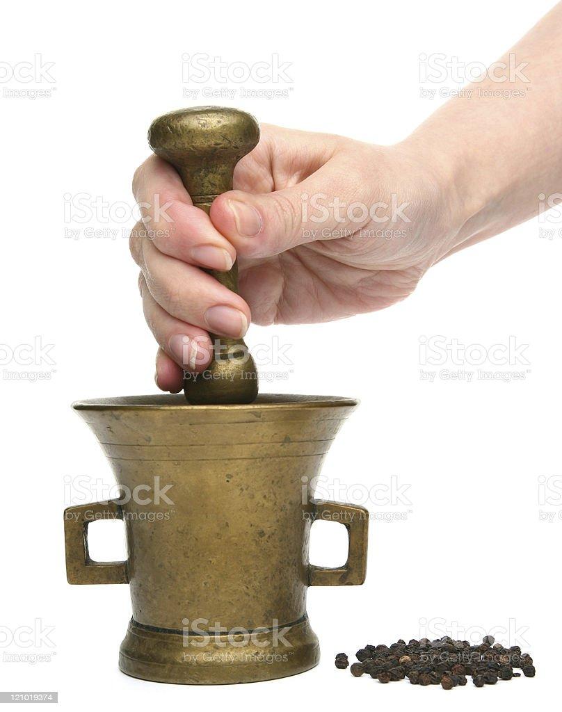 Brass Mortar stock photo