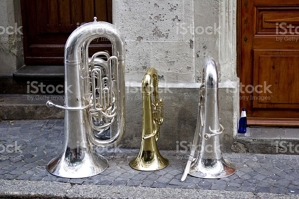 Brass Musical Instruments on a street in Lutry, Switzerland. royalty-free stock photo