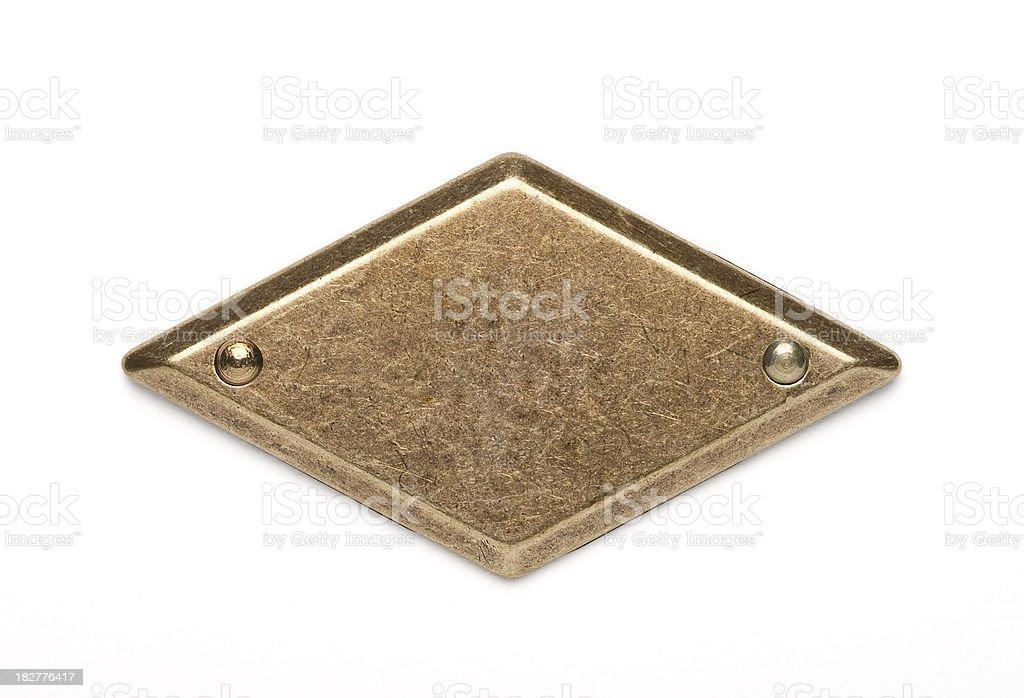 Brass nameplate stock photo