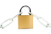 Brass padlock connecting two chains over white background