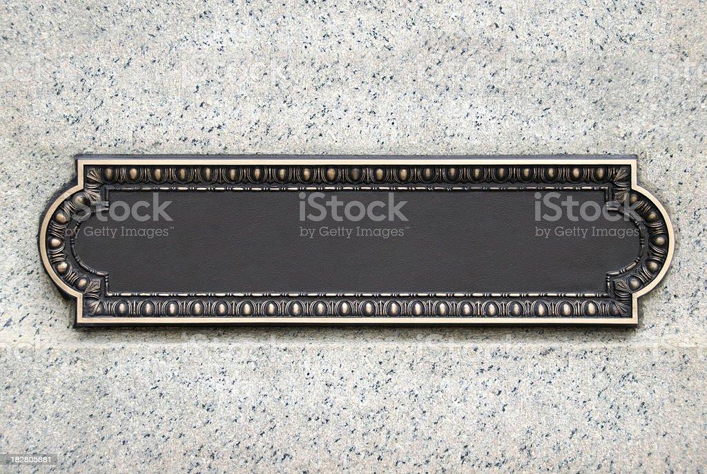 Brass Plaque stock photo
