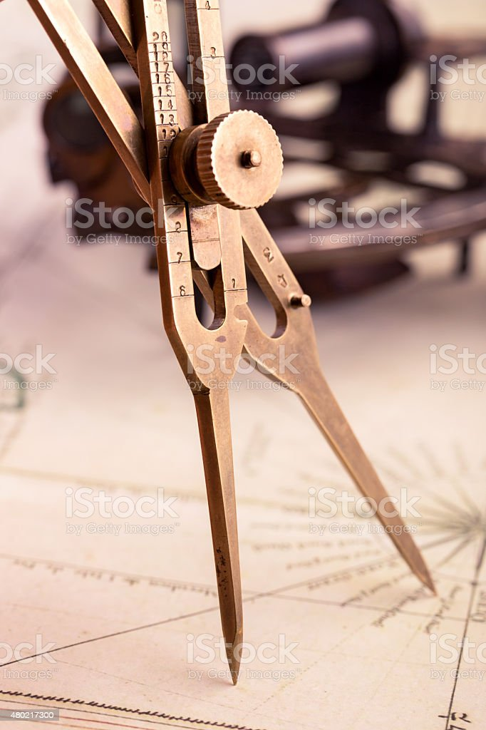Brass proportional divider stock photo