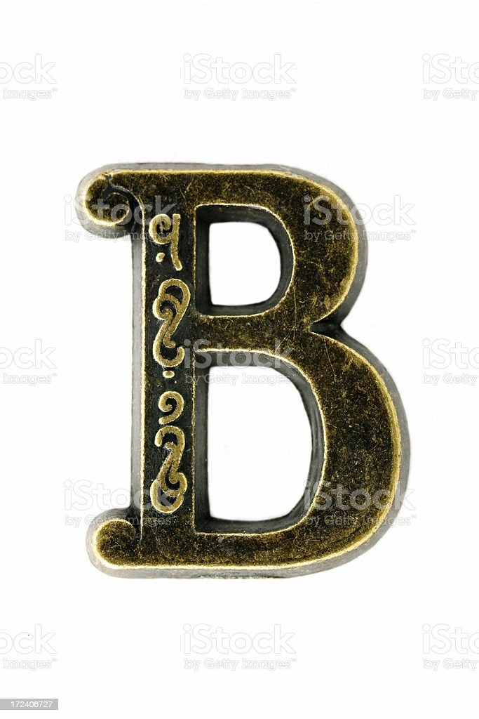 "brass ""letter B"" royalty-free stock photo"