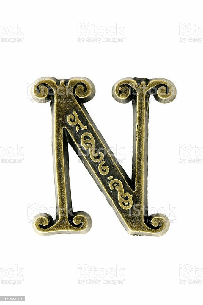 """brass """"letter N"""" royalty-free stock photo"""