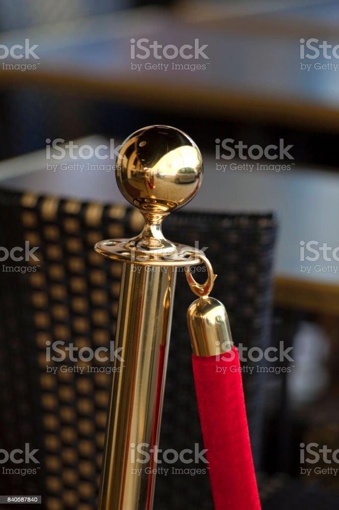 Brass safety cordon stock photo