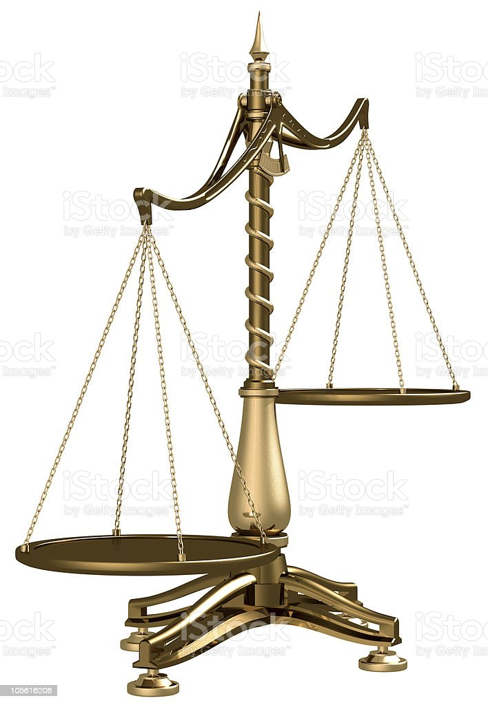 Brass scales isolated stock photo