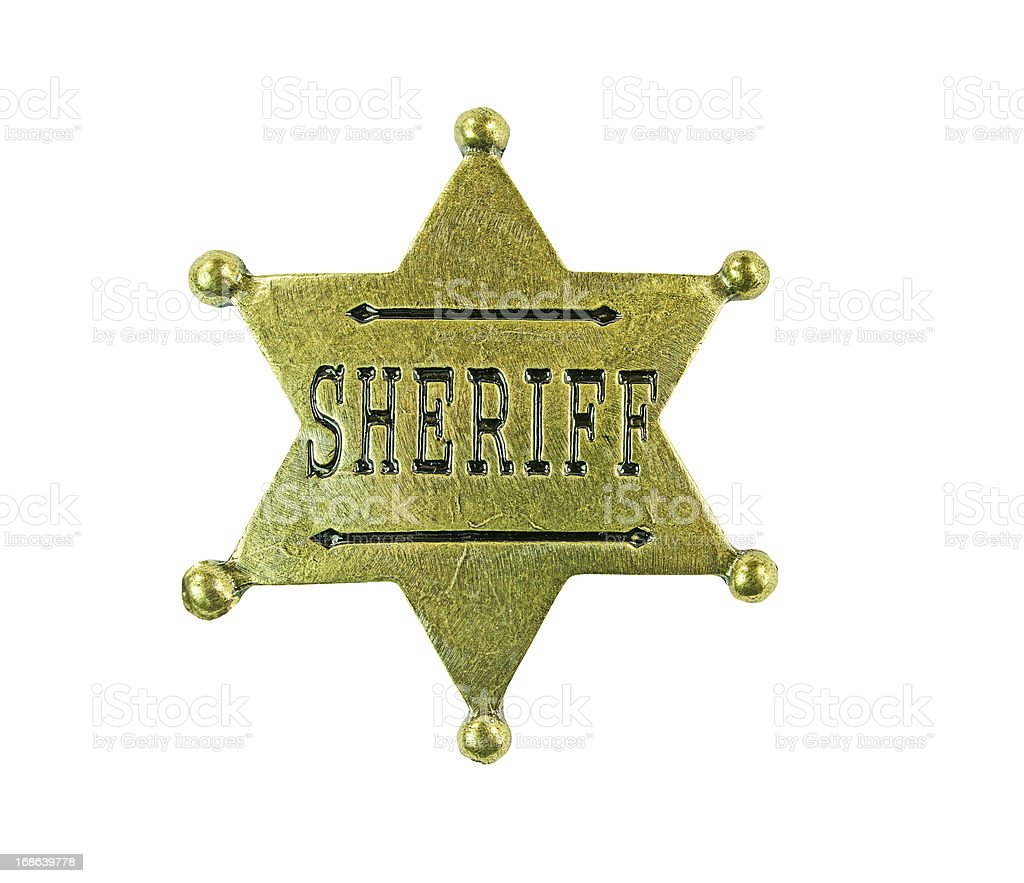 Brass Sheriff Badge Clipping path royalty-free stock photo