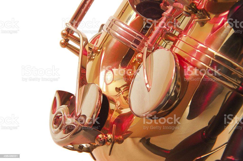 Brass tenor sax belly in closeup stock photo