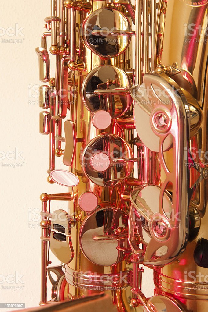 Brass tenor sax in closeup stock photo