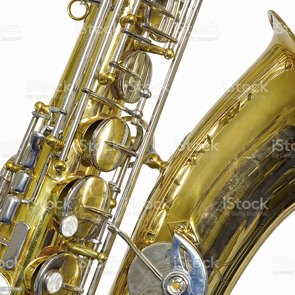 Brass tenor saxophone side view fragment, isolated on white stock photo