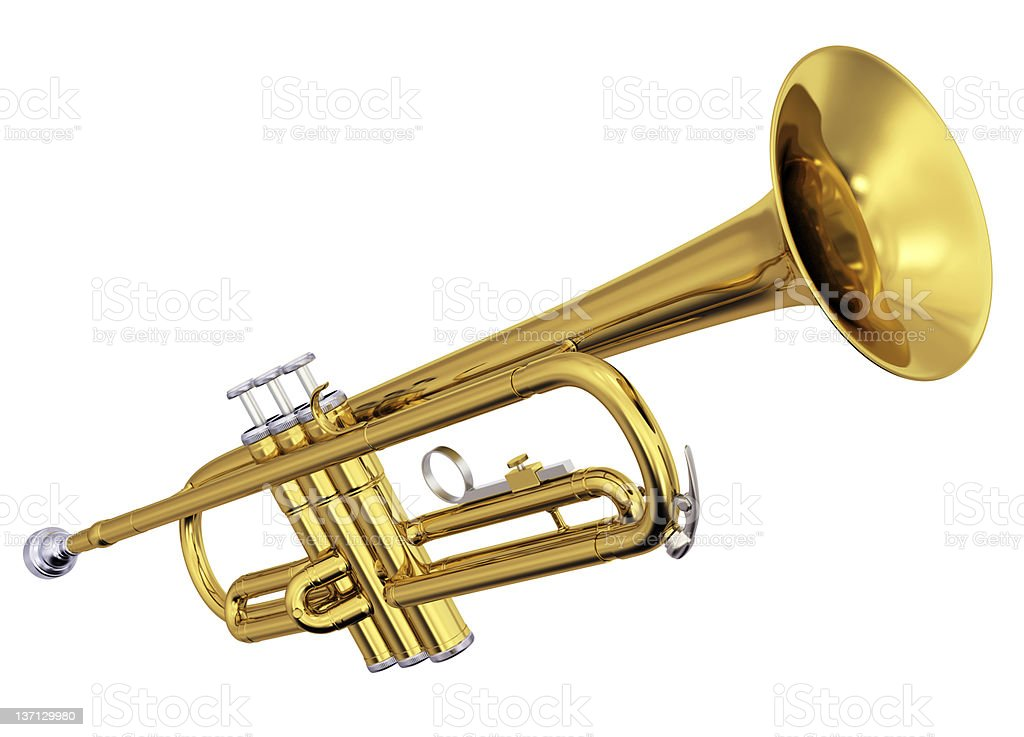 Brass trumpet on white background stock photo