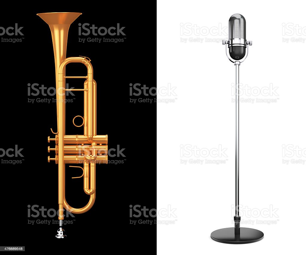 Brass Trumpet with Silver Microphone stock photo