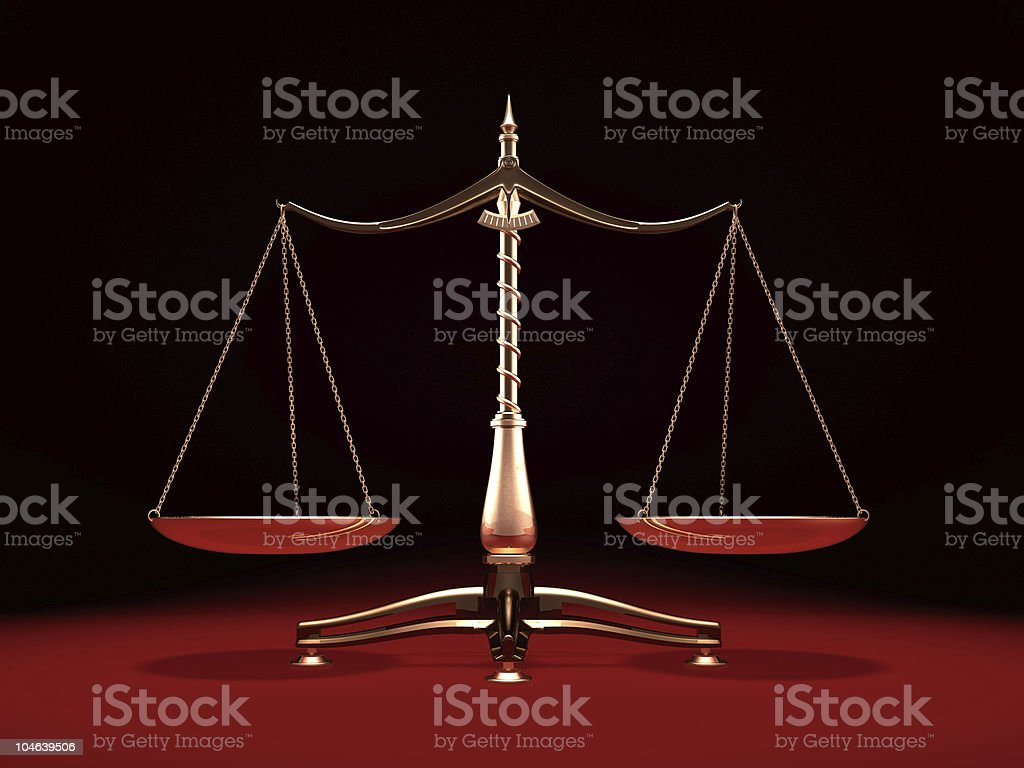 Brass Weight Scales stock photo